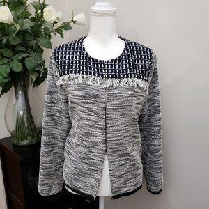 Chico's Fringe Tweed Jacket/Blazer